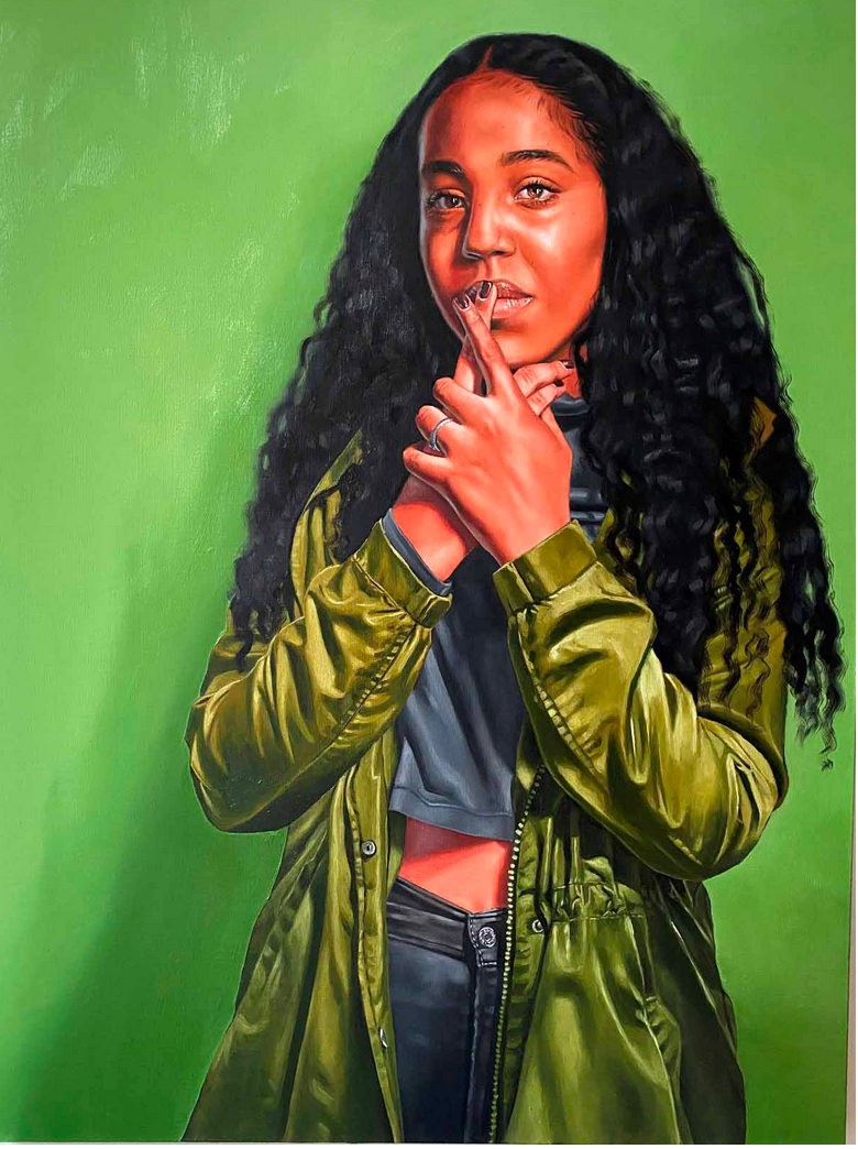 green bacgroumd with young Black woman portrait
