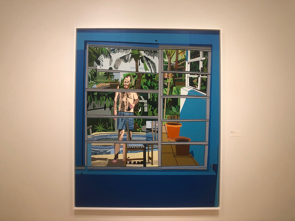 Calais Drive by Jonas Wood: man in bathing suit seen through window beside a pool.