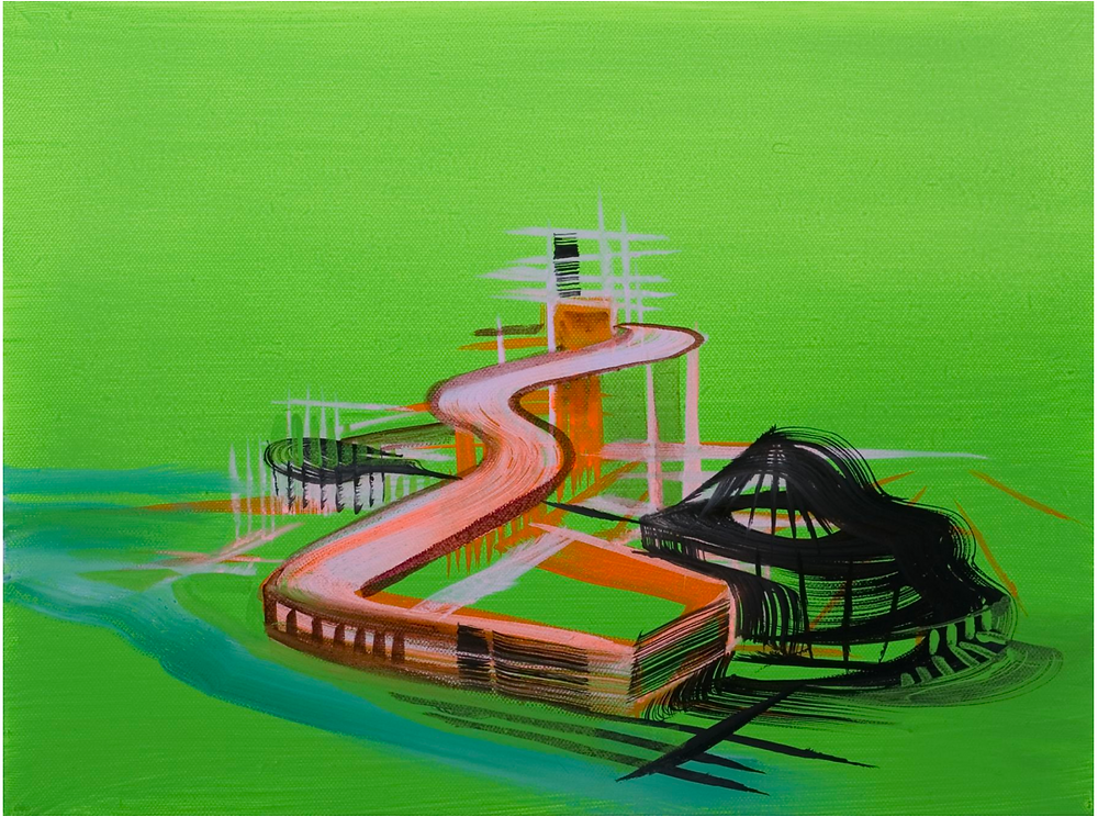 Bright green and neon colors in a painting of a mythical city.