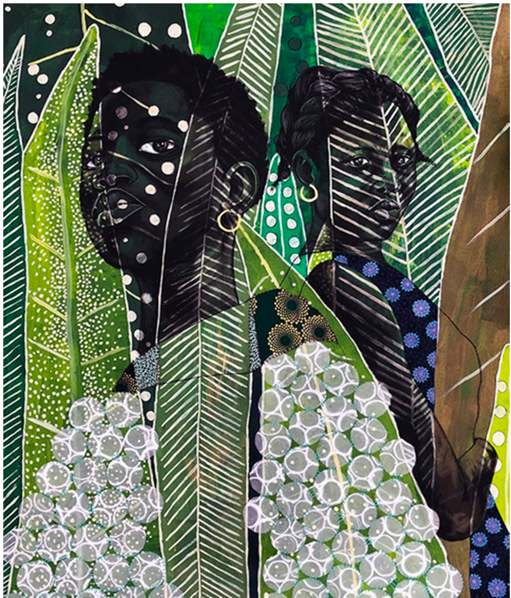Two black women in night scene and large patterned leaves