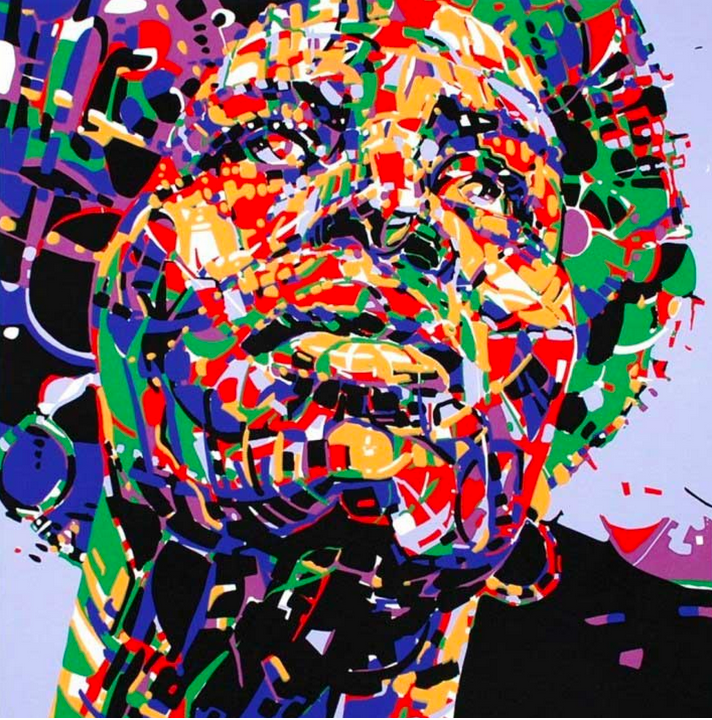 silk screen of Black woman portrait and vibrant abstract pattern.