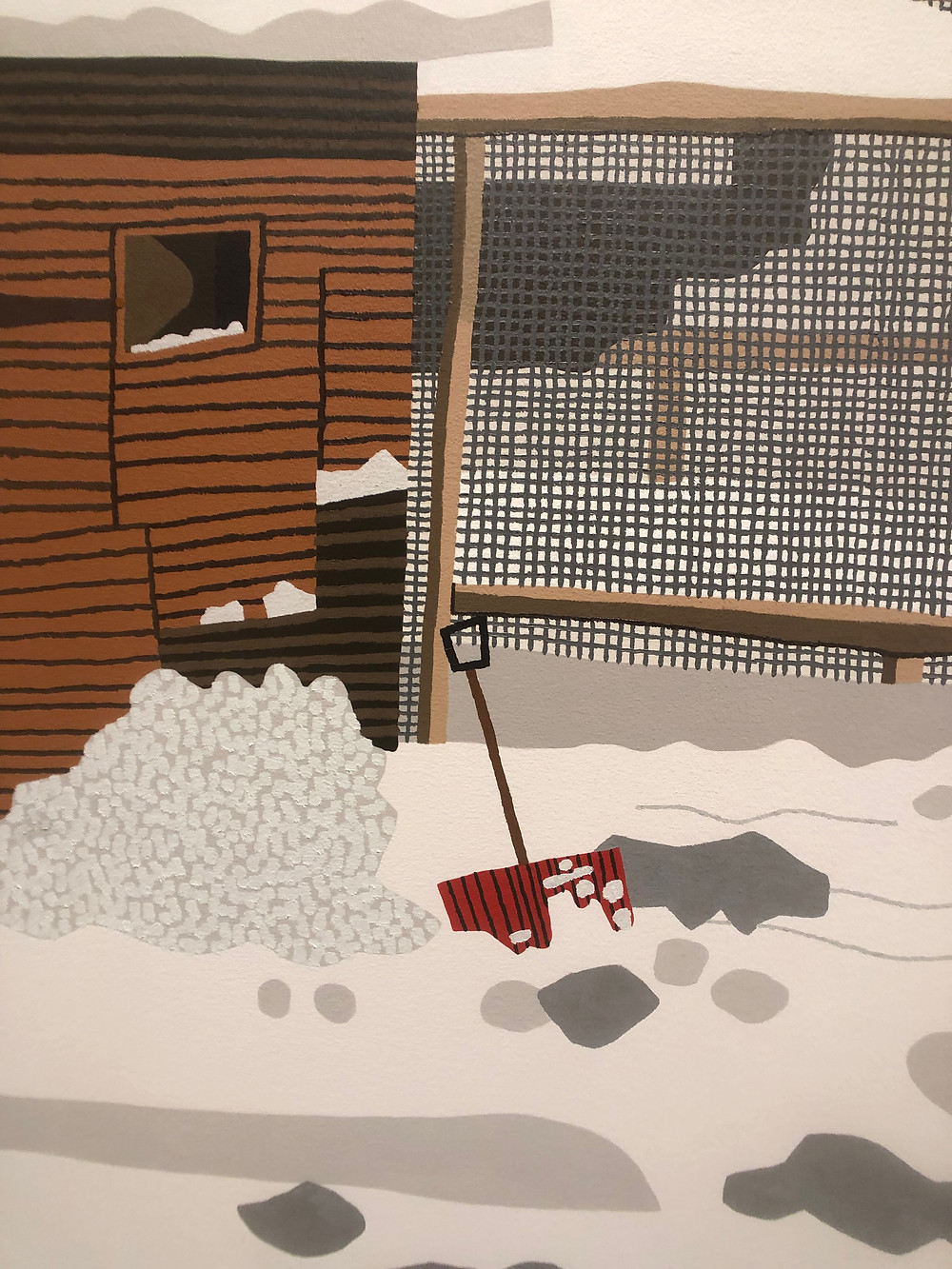 Detail shot of Snowscape with Barn.