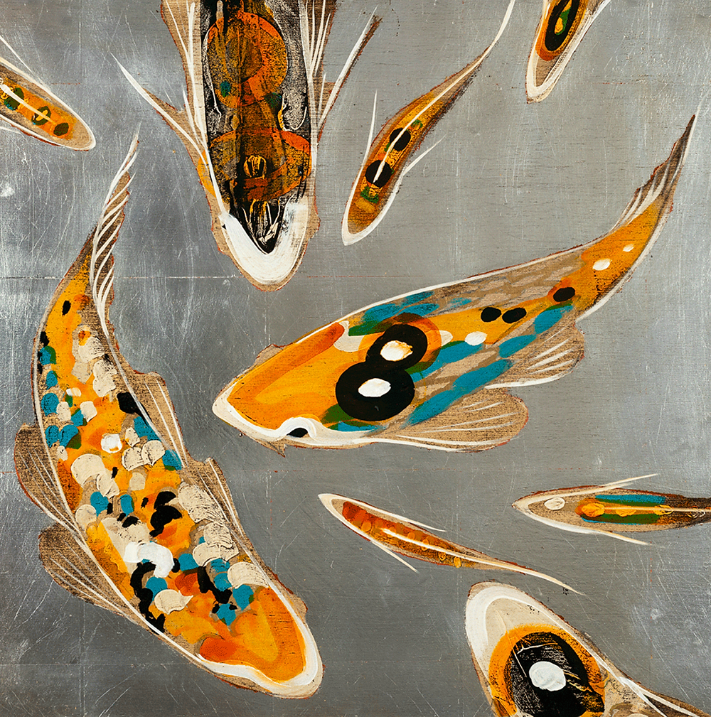 silver canvas with orange and turquoise koi fish painting