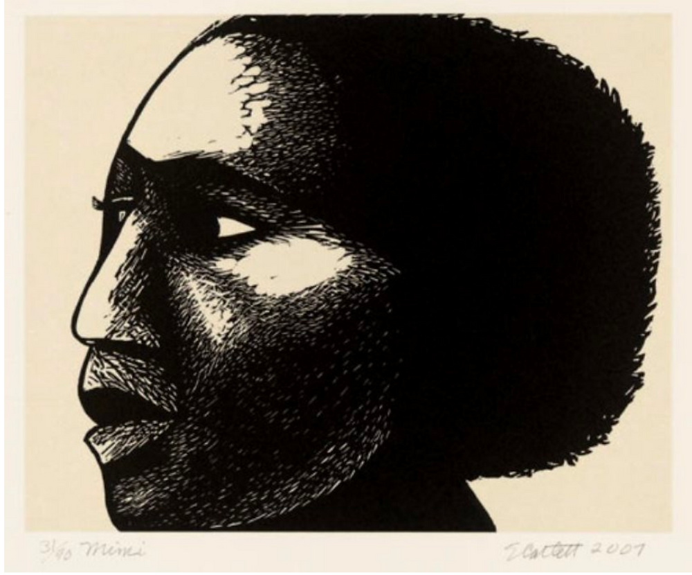 Black and white print image of Black woman