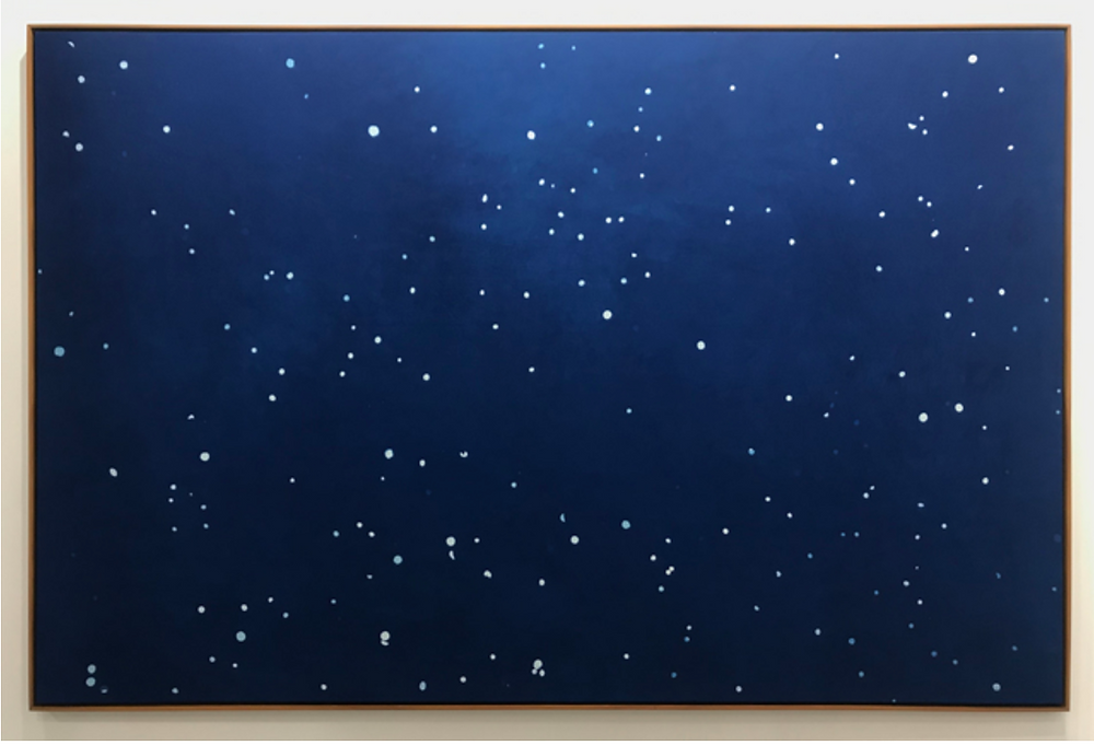 dark blue and white painting like stars