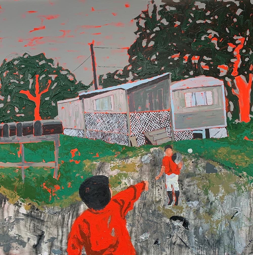 painting of children playing ball in front of trailers.