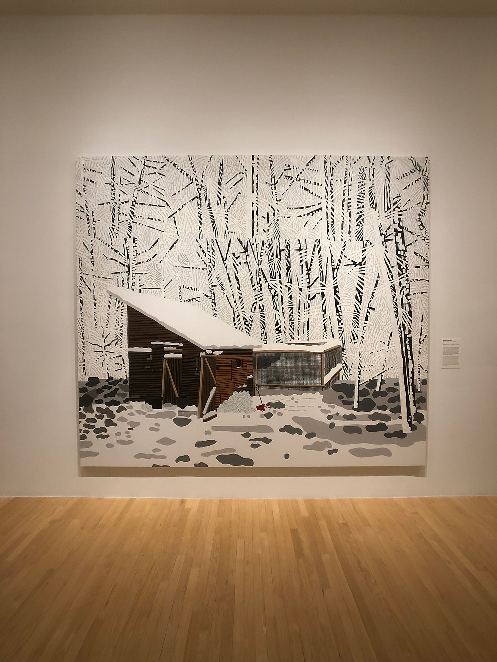 Barn in snowy woods by painter Jonas Wood at the Dallas Museum of Art.