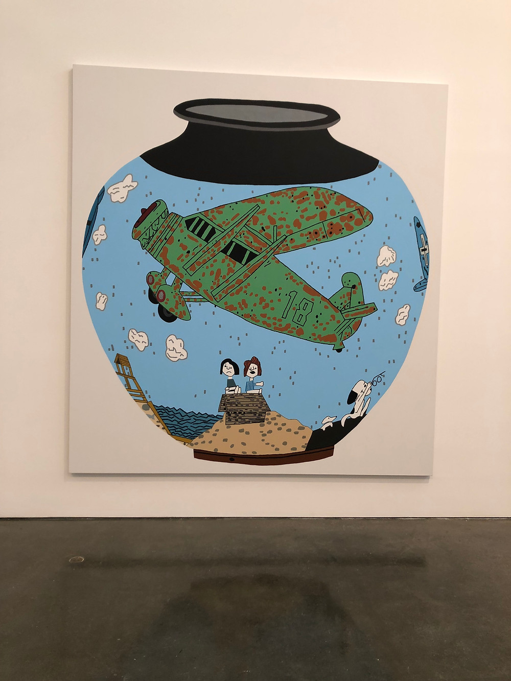 Pot painted with Snoopy and Peanuts characters by Jonas Wood.