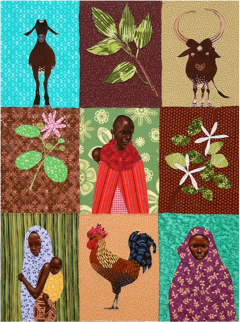 quilt pattern with women, flowers, goats and a rooster.