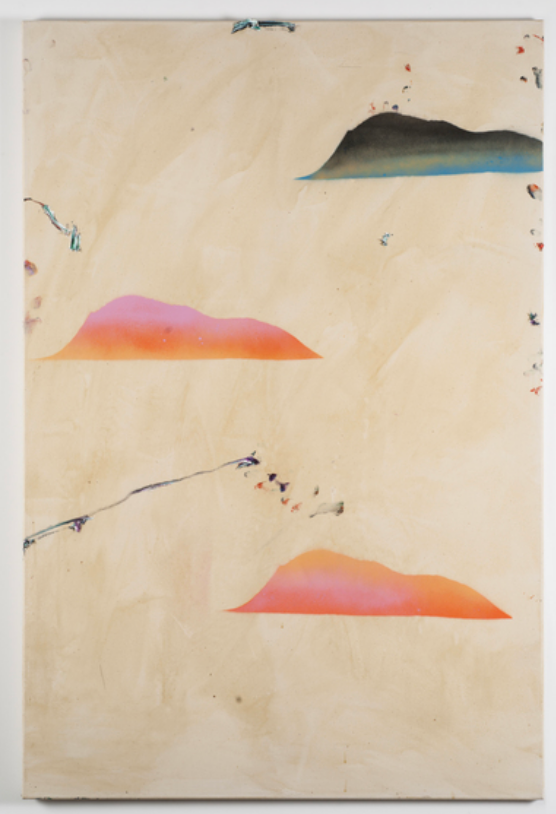 abstract painting peach and blue clouds