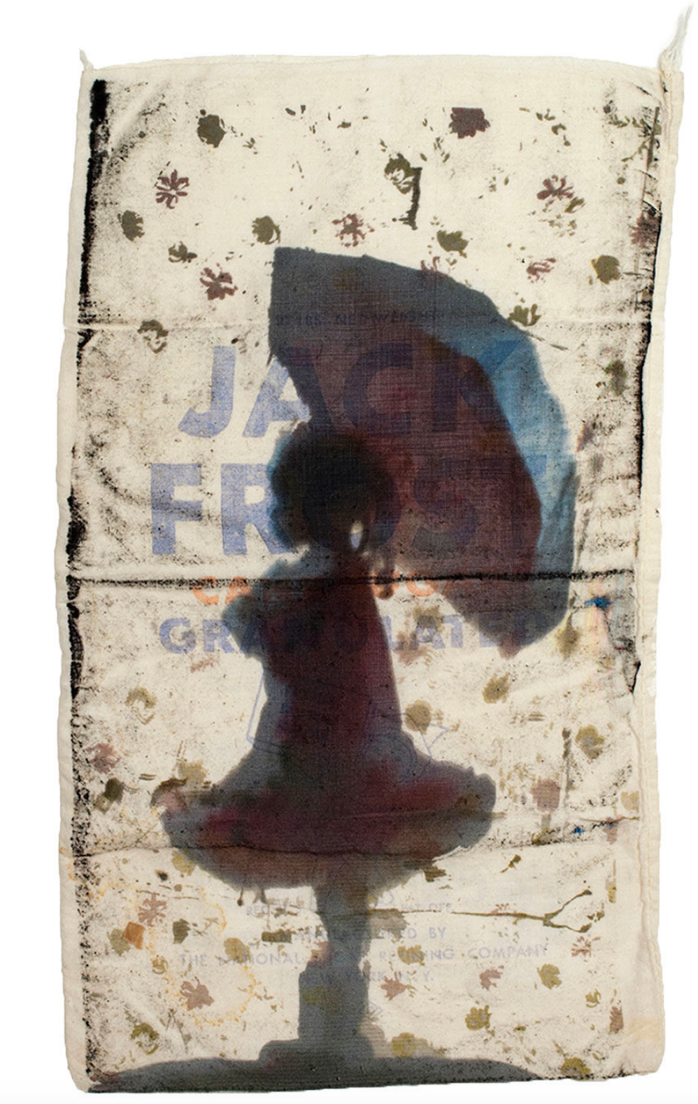 printed flour sack with image of black girl child with umbrella