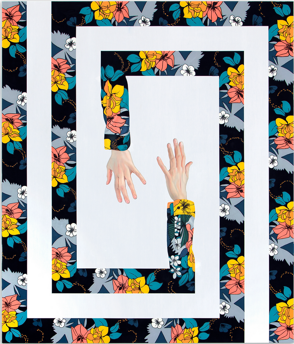 geometric collage of floral pattern and hands