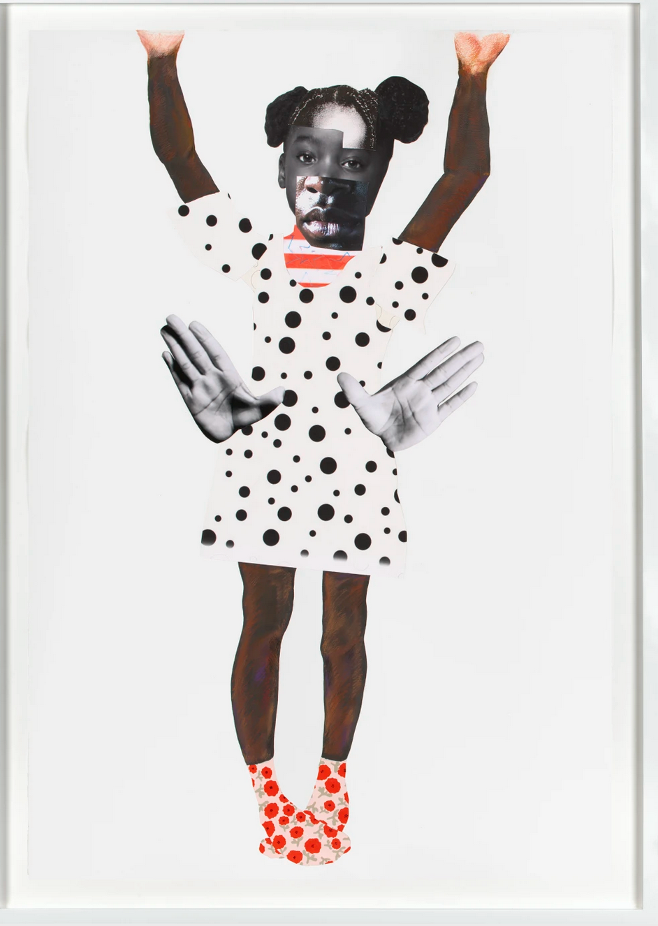 Collage of young Black girl in polka dot dress and shoes.