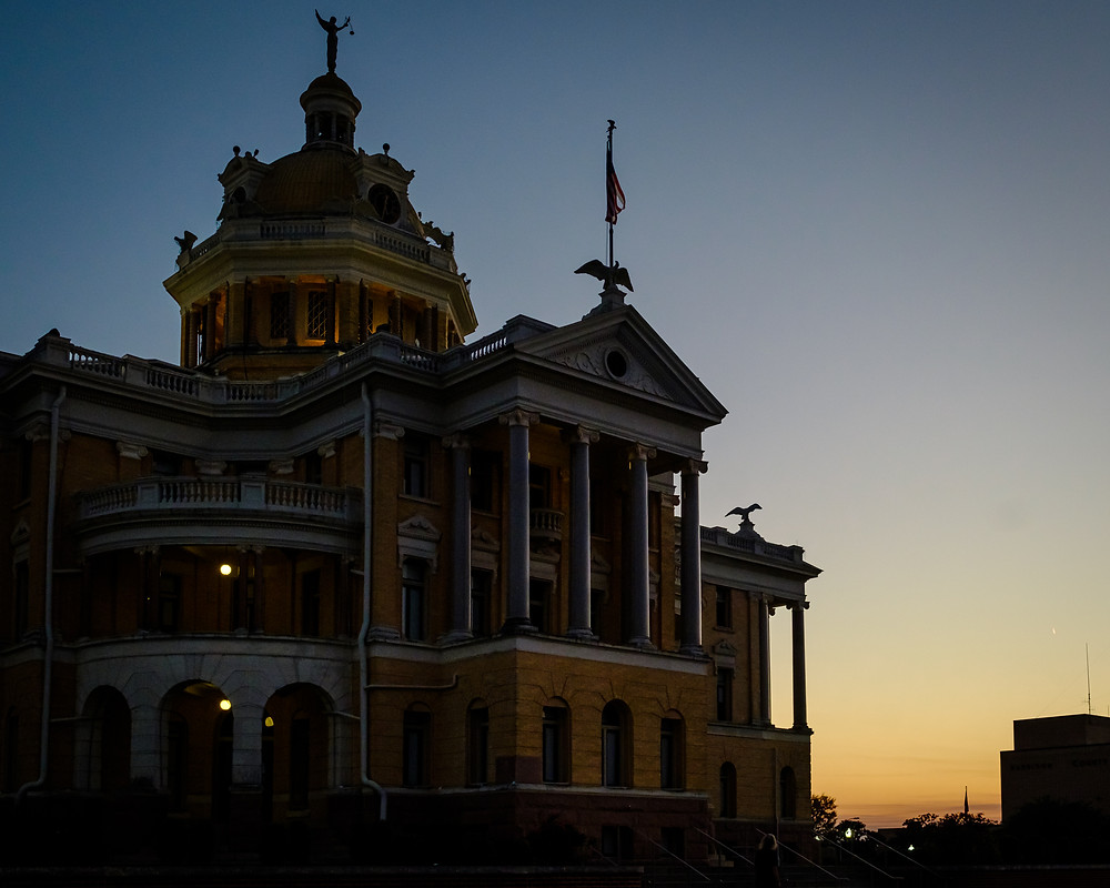 marshall harrison county courthouse at dusk