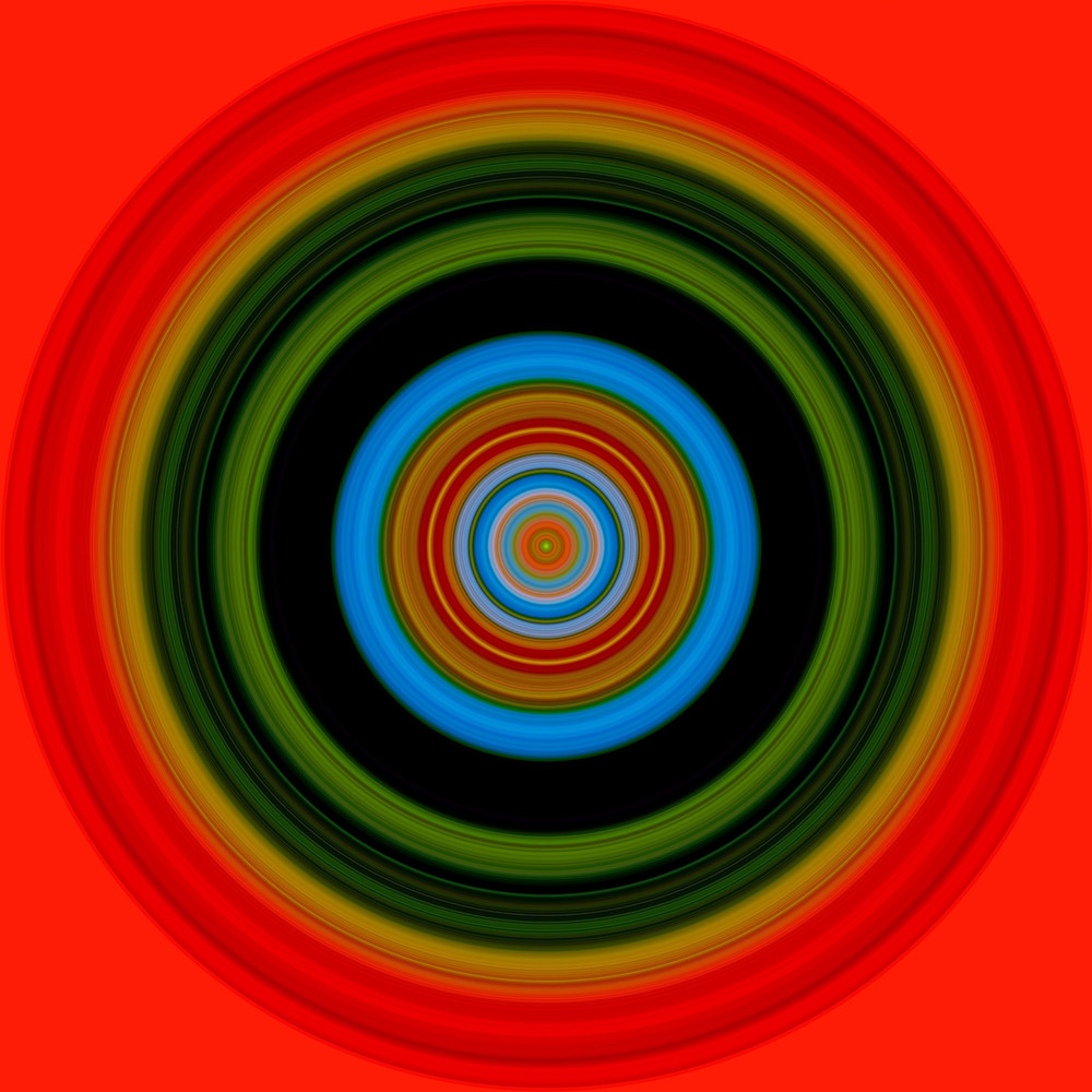 abstract red painting with colorful concentric circles