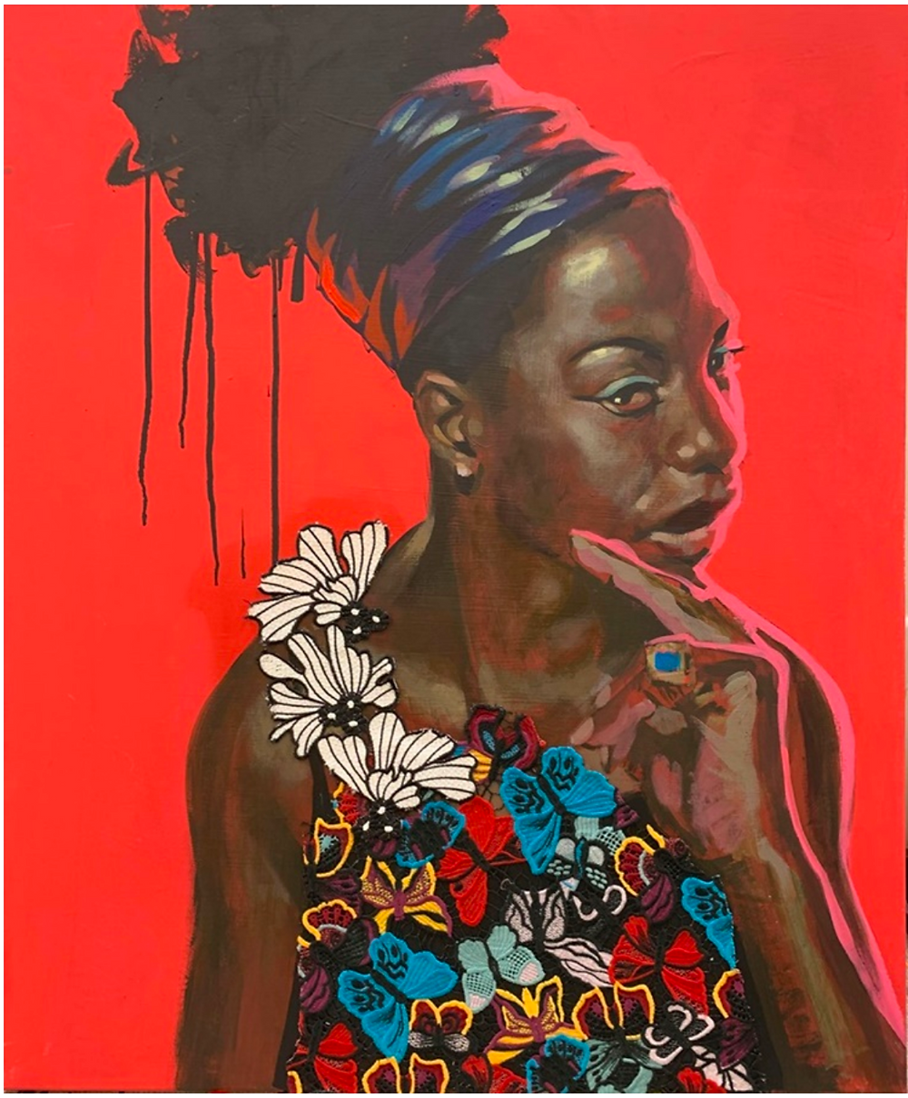 red background and Black woman portrait with butterfly and floral blouse