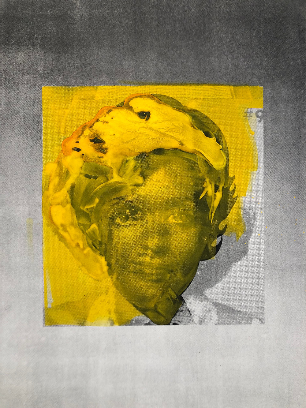 Yellow, gray, black and white screen print portrait of an African-American woman by Lorna Simpson.
