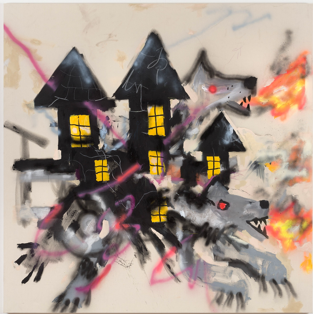 Abstract painting of a black house over fire breathing gray wolves.