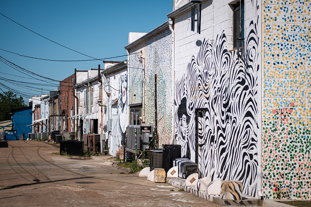 bright zebra and polka dot murals on alley walls