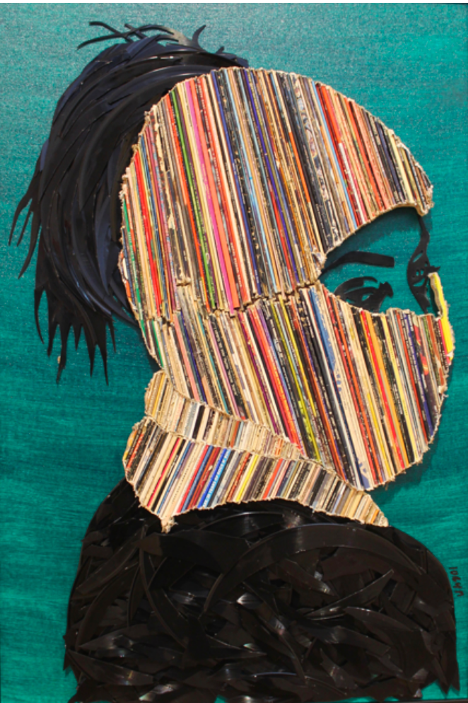 portrait and collage of masked woman. Teal background and bright striped mask.