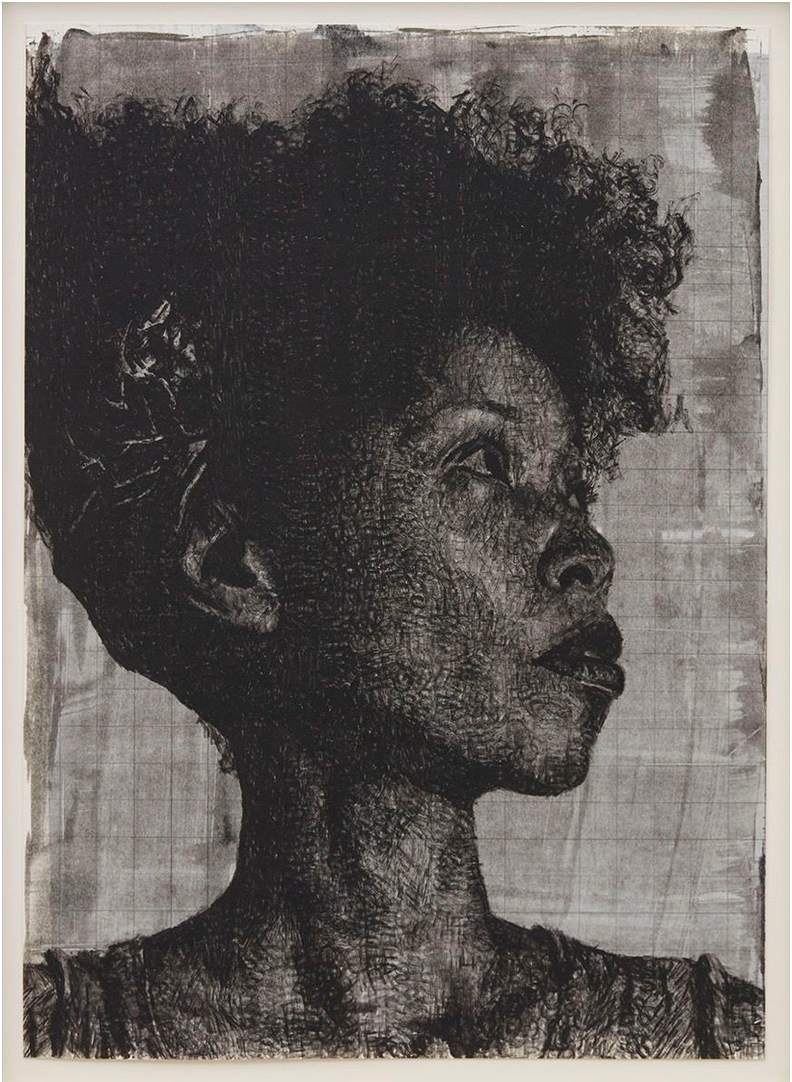 black and white print of dark-skinned woman.