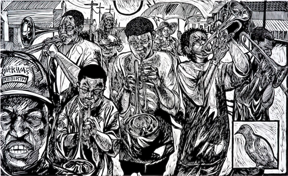 linocut of Black New Orleans jazz band