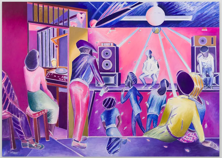interior pink and purple with bright figures