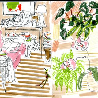 Helen's house in sketchbook