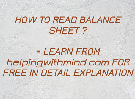 How to read balance sheet format  | with detail explanation
