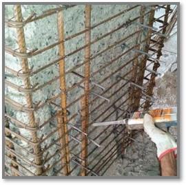 Perfurações para ampliação de estruturas com arranques de aço, ancoragem com Epoxi