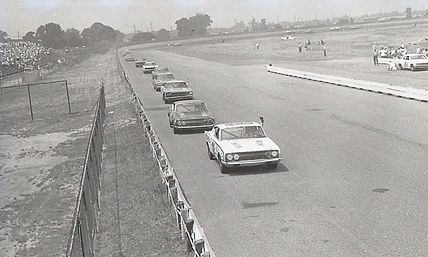 Cars Line Up at Trenton Speedway in 1968
