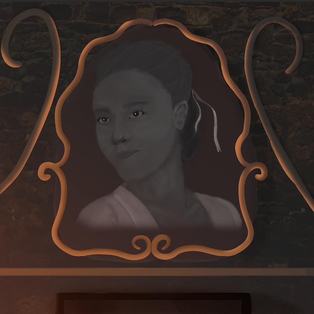 Em uma parede de pedra, vê-se um retrato em preto e branco de uma mulher com os cabelos amarrados por uma fita.