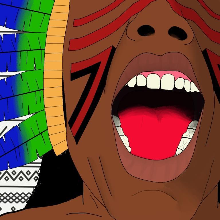 Parte do rosto de uma pessoa indígena, com pinturas típicas na bochecha e um cocar de penas azuis e verdes. A boca está aberta, como que gritando.