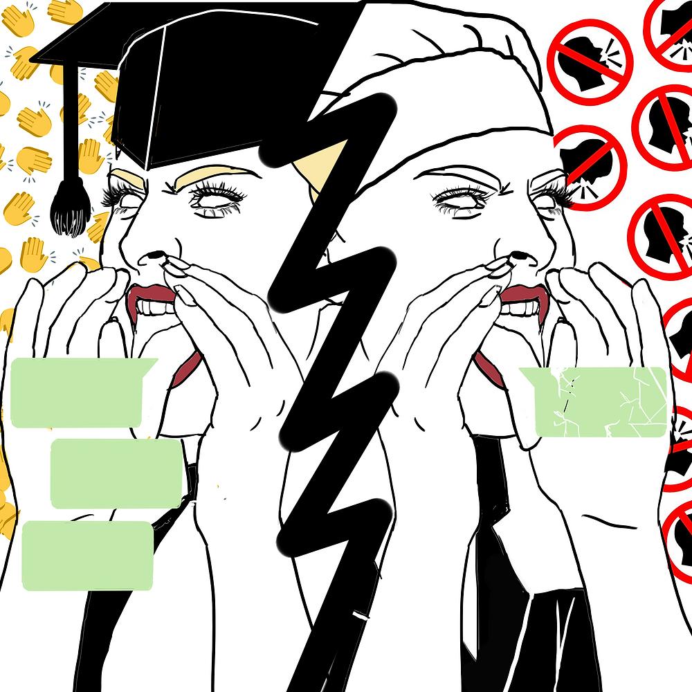 """Desenho de duas figuras femininas, separadas por um risco. À esquerda, uma mulher com um capelo (chapéu de formatura) falando alguma coisa e, ao fundo, emojis de aplausos. À direita, a mesma figura usando um chapéu de cozinheira, e ao fundo placas indicando """"proibido falar""""."""