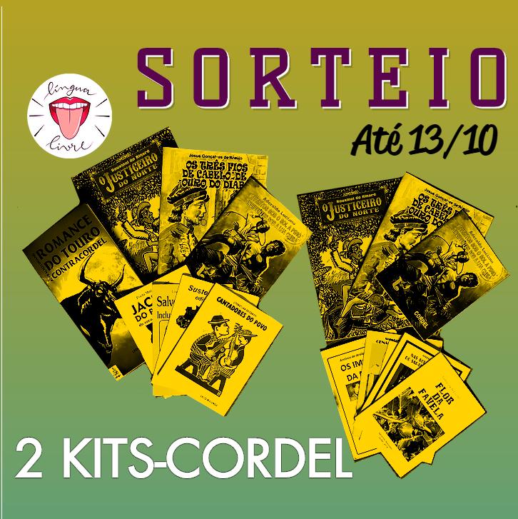 """Dois kits com várias publicações (livretos de cordel), com os dizeres: """"Sorteio - Até 13/10 - 2 kits-cordel"""" e a logo do Língua Livre"""