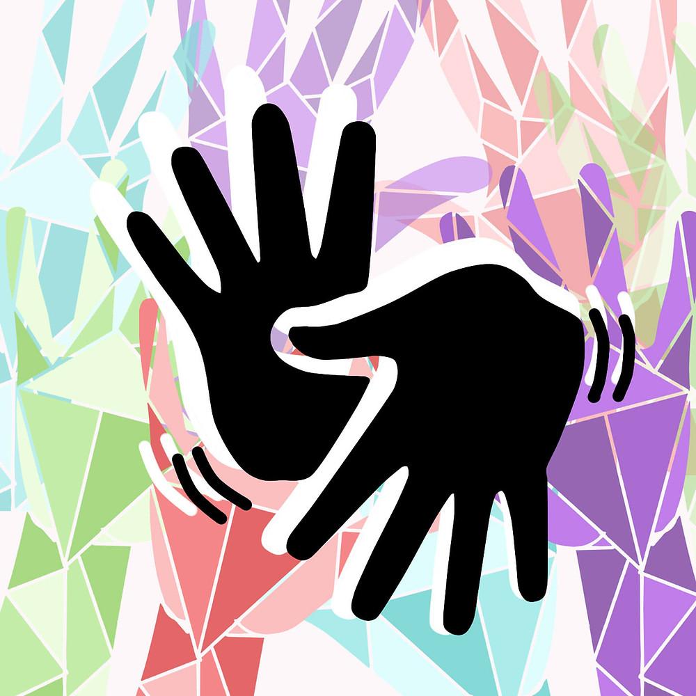 Ícone de duas mãos se movimentando, que simboliza acessibilidade. Ao fundo, várias mãos estilizadas com formas geométricas, em diversas cores.