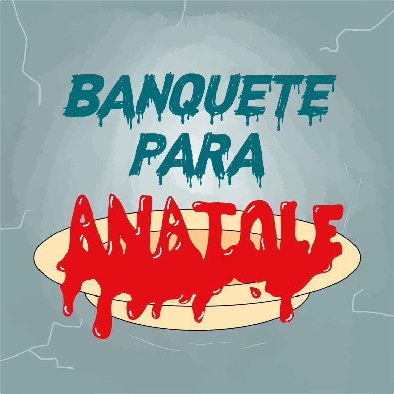 """Capa do episódio. Fundo azul-acinzentado, lembrando gelo. Lê-se o título """"Banquete para Anatole"""". A palavra """"Anatole"""" está em vermelho, lembrando sangue escorrendo, sobre um prato amarelado."""