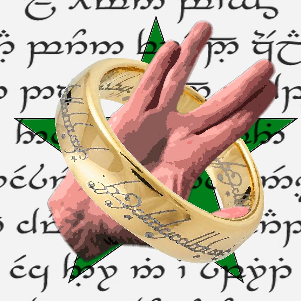 Fundo branco com escritos em um alfabeto estranho (língua élfica). Sobrepõe-se uma estrela verde (representa a bandeira do Esperanto), uma mão fazendo um gesto característico da saudação usada na série Star Trek e um anel com inscrições, referência do filme O sehor dos anéis.