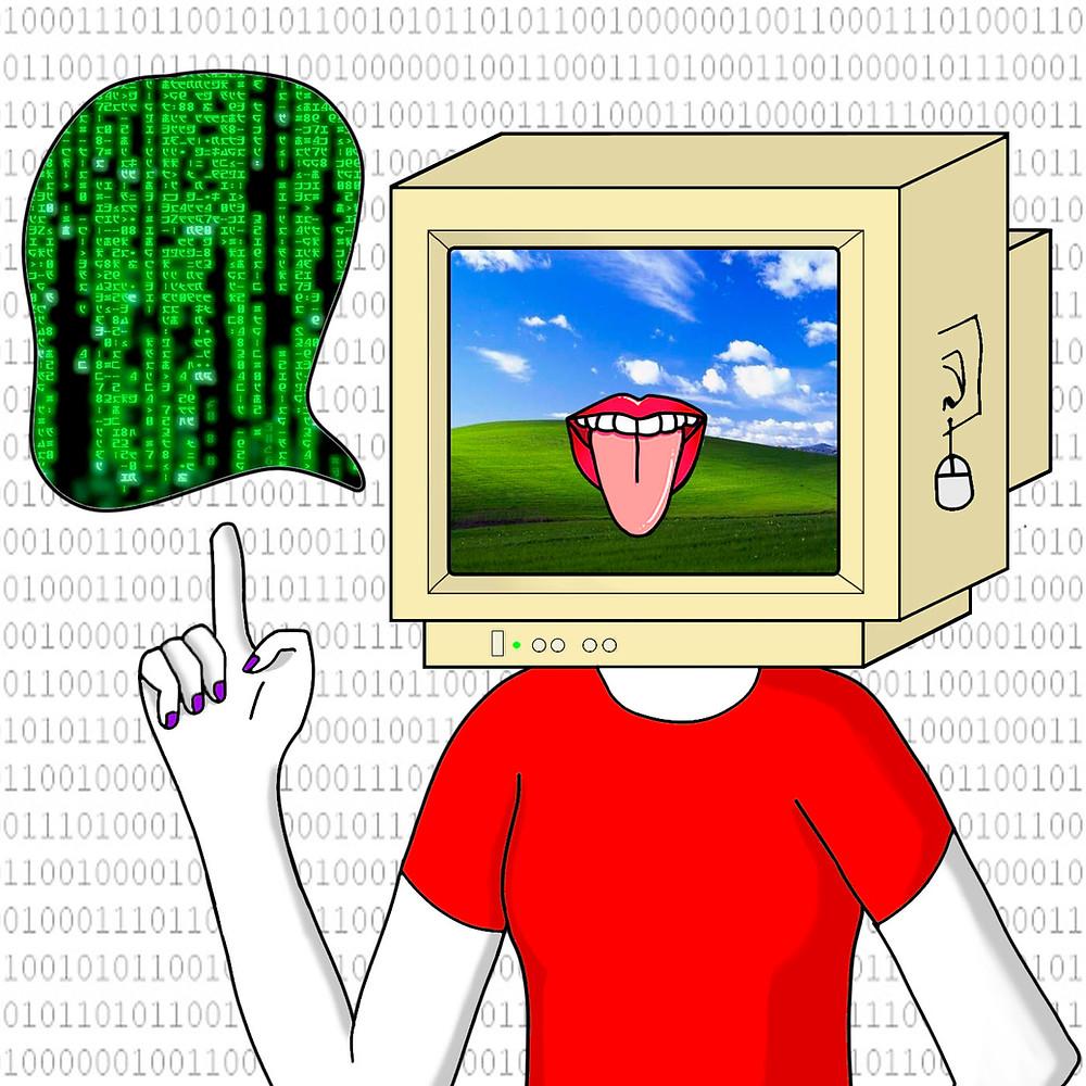Capa do episódio 3. No fundo, um grande código binário (sequência de zeros e uns). Em primeiro plano, a figura do corpo de uma mulher, usando blusa vermelha. No lugar da sua cabeça, há um monitor antigo de computador, onde se vê um fundo de tela clássico do Windows e a logo do Língua Livre. Ela está com um dedo apontando para cima, e um balãozinho de fala ao lado da sua cabeça está todo preenchido com o código de programação verde em fundo preto que ficou famoso no filme Matrix.
