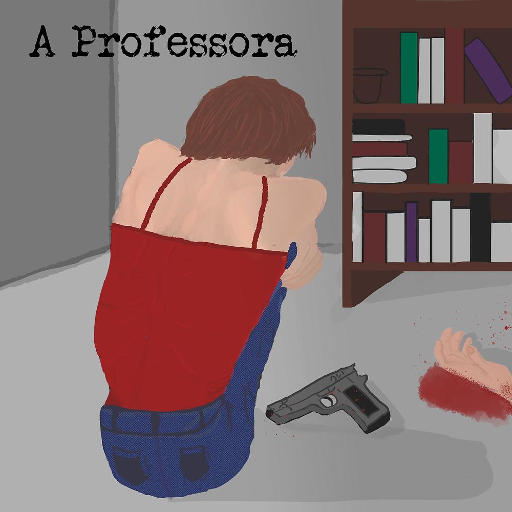 Em uma sala com uma estante de livros, há uma mulher sentada no chão, de costas, encolhida, com uma pistola ao lado e uma mão ensanguentada.