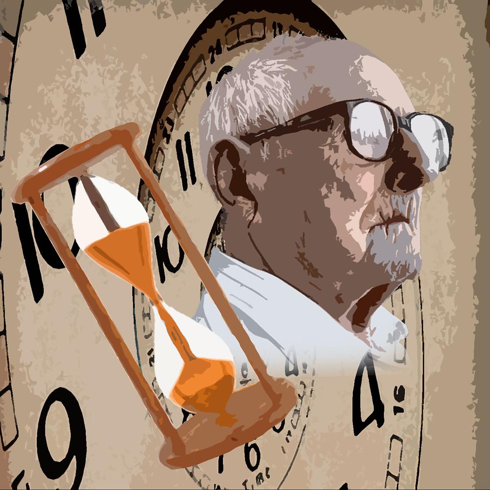 No fundo da imagem, há uma espiral onde se acumulam vários relógios, em tom bege/sépia. Em primeiro plano, uma ampulheta dourada e o rosto de um homem idoso, de óculos, com o olhar perdido.