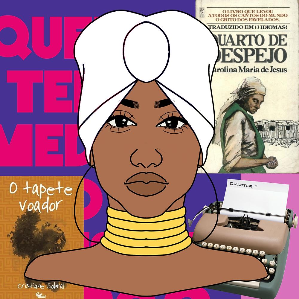 Desenho de busto e cabeça de uma mulher negra, usando colares dourados, grandes brincos de argola e turbante branco. Ao fundo, veem-se capas de livros escritos por autoras negras e uma máquina de escrever.