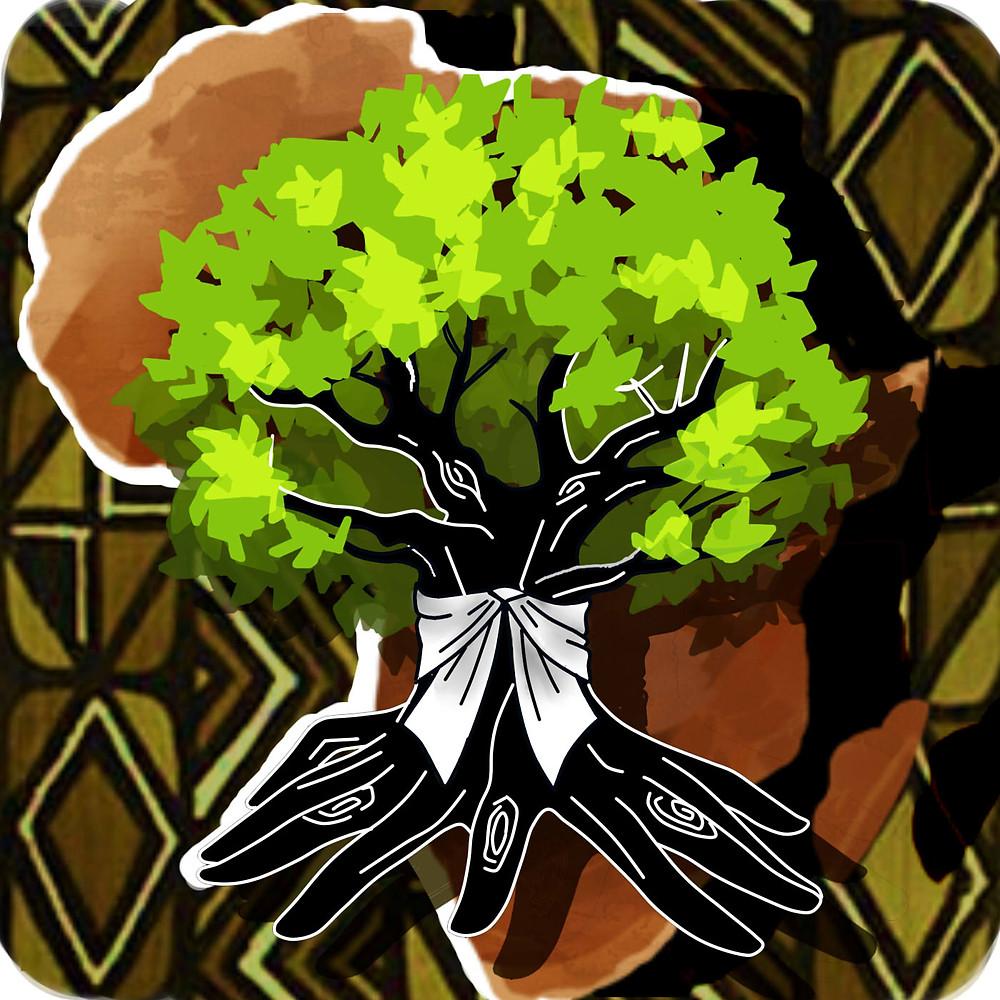 Árvore estilizada: o tronco, preto com detalhes em branco, lembra o formato de uma mão e está amarrado com uma fita branca. As folhas são em tons de verde. Ao fundo, uma estampa tipicamente africana.