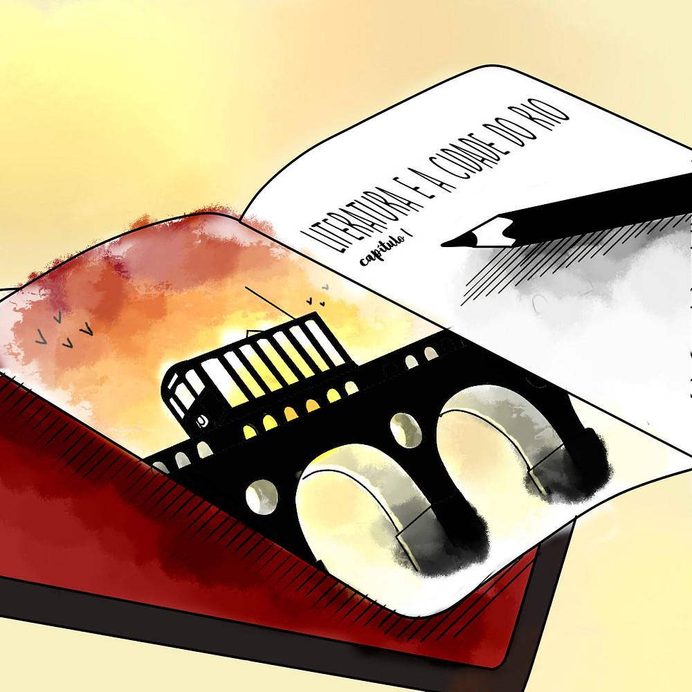 """Em um caderno, estão desenhados os arcos da Lapa e o bondinho passando sobre eles, o fundo é uma aquarela em tons de amarelo e rosa. Na outra página, há um lápis pousado e os dizeres """"Literatura e a cidade do Rio - capítulo 1""""."""