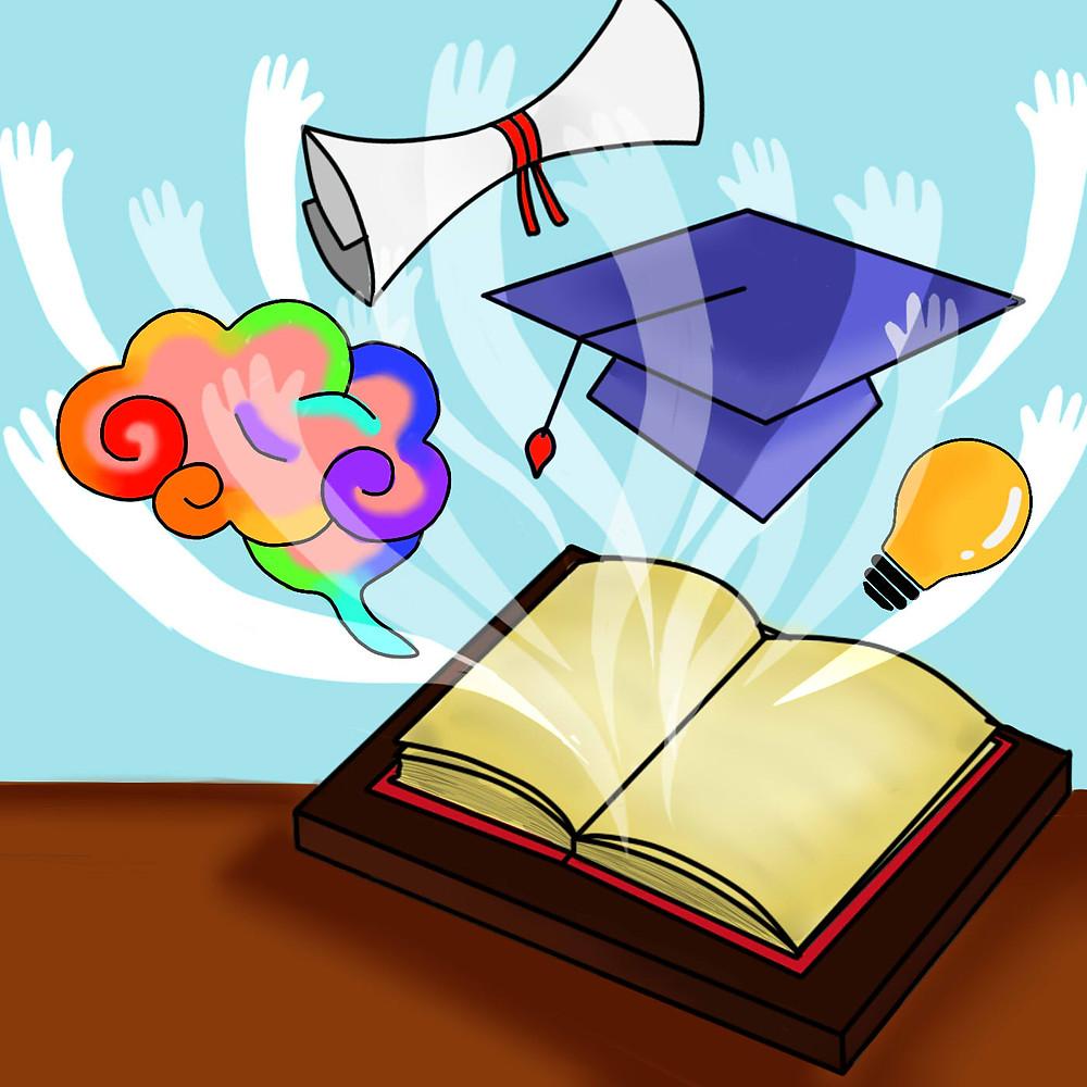 Um livro está aberto sobre uma mesa num fundo azul-claro. Das páginas, saem várias figuras estilizadas, lembrando mãos, um cérebro colorido, um capelo de formatura, um diploma e uma lâmpada acesa.
