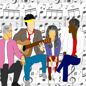 Personagens que lembram Caetano Veloso, Cazuza, Maria Bethânia e Gilberto Gil sentados lado a lado, ao fundo notas musicais em uma partitura.