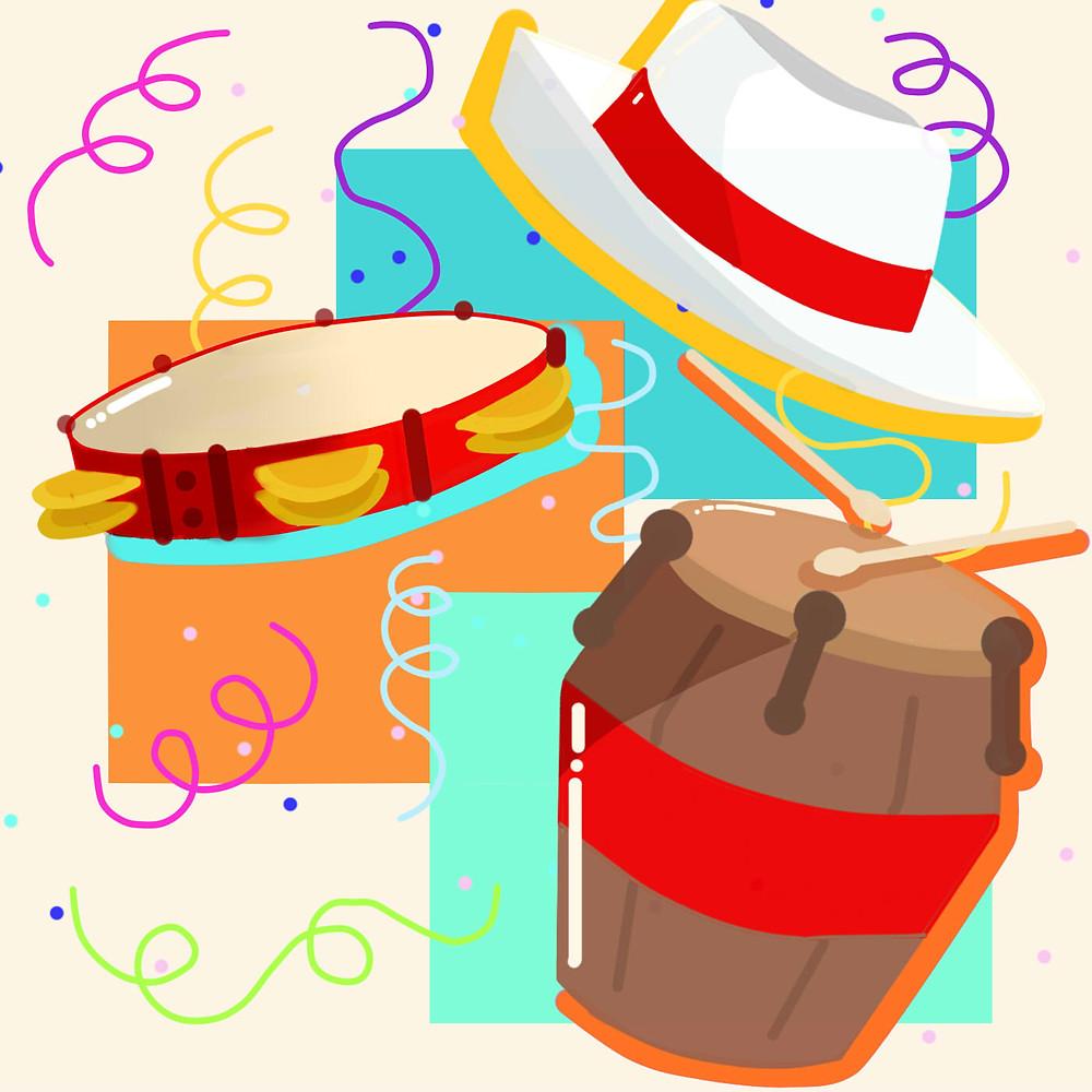 Em um fundo branco com quadrados coloridos, vê-se um chapéu Panamá, um pandeiro e um tambor, entre serpentinas e confetes coloridos.