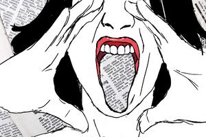Imagem de capa mesclando desenho e fotomontagem. Rosto de uma mulher gritando, com as mãos ao redor da boca. A língua dela e o fundo da imagem têm textura de jornal.