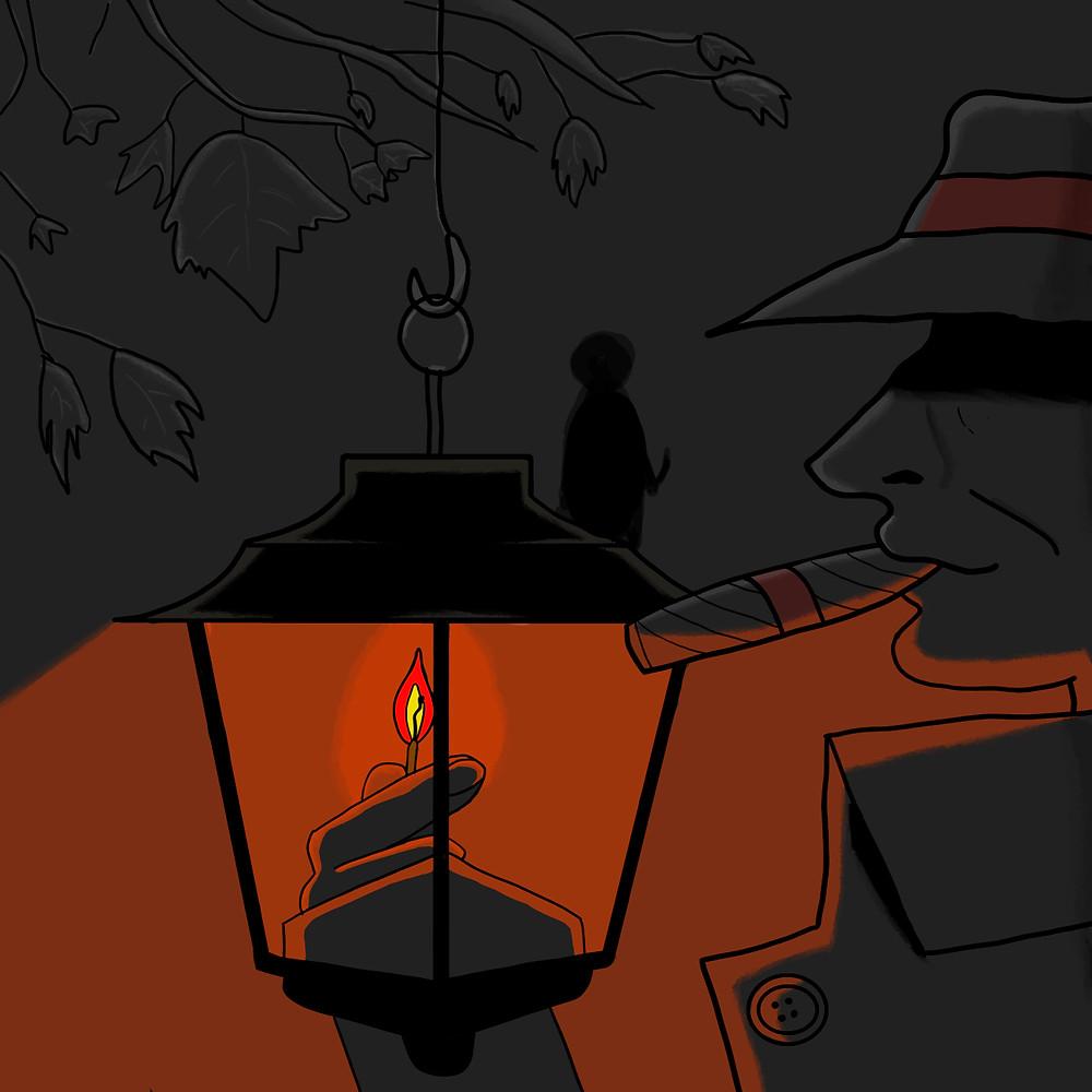 Capa do episódio: o cenário é cinza escuro, como numa noite sombria. Em primeiro plano, uma lanterna antiga (tipo lamparina). Um homem de chapéu e casaco fuma um charuto e acende a lamparina com um fósforo. Ao fundo, pode-se ver a sombra de uma pessoa segurando uma faca.