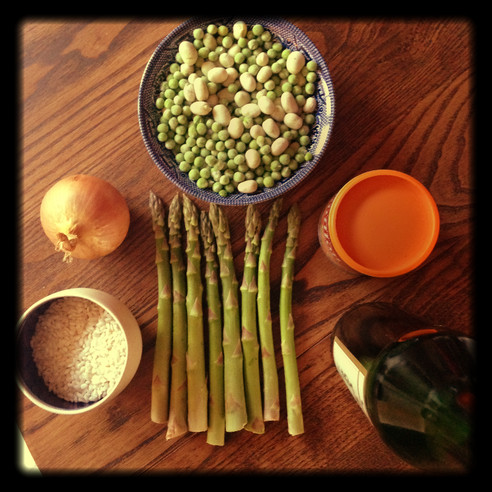 Asparagus risotto with ingredients from East Oxford Community Market